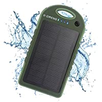 Solar Charger, X-DNENG 12000mAh High Capacity Portable Solar Power Bank Waterproof Shockproof Dustproof Solar Battery Charger Dual USB Port LED Light for iPhone iPad Samsung Android and More (Green)