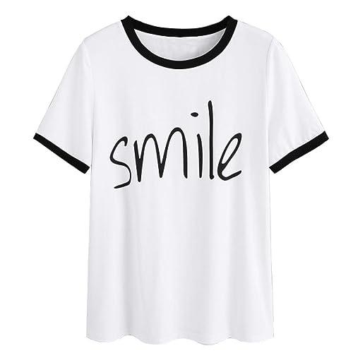 Zarupeng-Blusa Mujer Blusa,Zarupeng Camisetas Originales Camisetas de Manga Corta Camisetas de Mujer con Cuello Redondo Camisetas de Manga Corta con ...