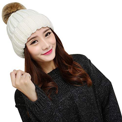 Winter Warm Hats Women Warm Winter Knitted Beanie Elastic Large Pompom Top Hat Ski Cap - Keep Warm Comfortable