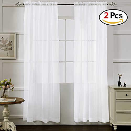 Sheer Curtains White 95 Inches Long, Window Treatments Rod Pocket Drapes for Living room, Bedroom, Semi Crinkle Voile Curtain Panels for Yard, Patio, Villa, Parlor, Set of 2, 52