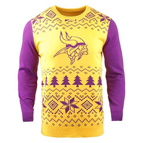 NFL Minnesota Vikings Two-Tone Cotton Ugly Sweatertwo-Tone Cotton Ugly Sweater, Yellow, Medium]()