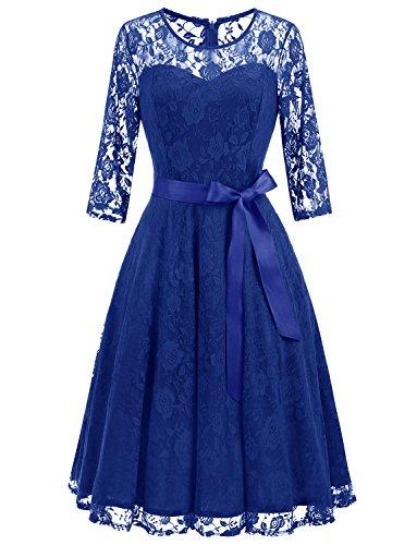 Elegant Blue Lace Pattern - Dressystar 0017 Women's Elegant Floral Lace Dress 3/4 Sleeves Bridesmaid Midi Dresses Illusion Neckline Royal Blue XXL