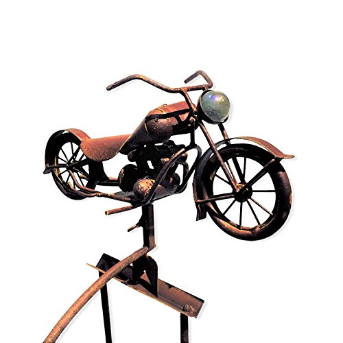 """The Rusty Motorcycle Garden Stake Rocker, Rustic Oxidized Patina, Iron, Handcrafted, Pendulum Swing Counter Weight, Prong Post, Approximately 4 Ft. 5 In. ( 52 3/8"""") By Whole House (Patina Iron)"""
