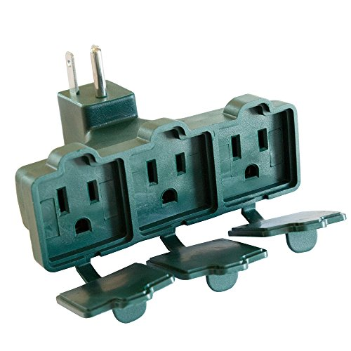 Grounded 3 Outlet Adapter - Green 3 Way Plug Electrical Wall Tap Outlet