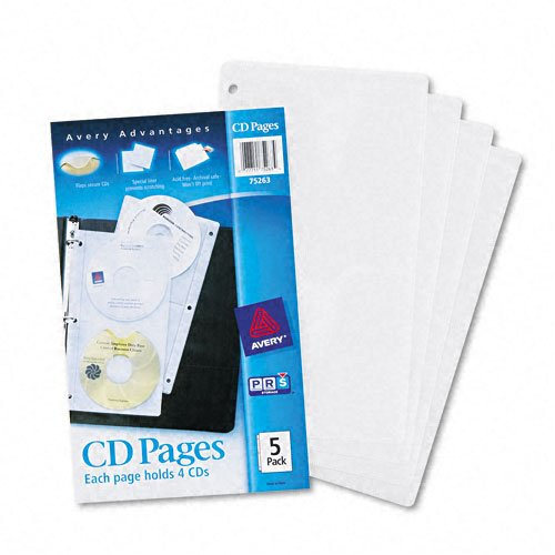 Avery Products - Avery - Two-Sided CD Organizer Sheets for Three-Ring Binder, 5/Pack - Sold As 1 Pack - Works with three-ring binders. - Double-sided pockets. - Protects CDs from scratches. - 3 Ring Cd Holder