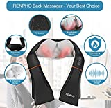 RENPHO Shiatsu Neck and Shoulder Back Massager with Heat, Electric Vibration Deep Tissue 3D Kneading Massage Pillow for Pain Relief on Waist, Leg, Calf, Foot, Arm, Belly, Full Body, Muscles