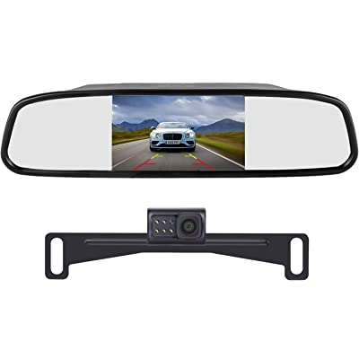 LeeKooLuu LK1 HD 720P Backup Camera with 4.3'' Mirror Monitor Kit for Cars, Vans, Trucks, Campers Hitch Rear View Camera Single Power System IP 69 Waterproof License Plate Camera Front View Switchable : Camera & Photo