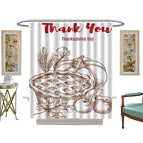 Iuvolux Shower Curtain CollectionThanksgiving Greeting Card Thank You. Home Art Paintings Pictures Decorations W54 x H84 Inch