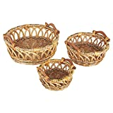 household essentials nested boxes - Household Essentials Robin Decorative Wicker Basket, 3 Pc Set, Natural Brown