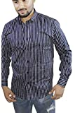Spanish One Look Mens Long Sleeve 100% Cotton Regular Fit Button Down Casual Shirts Dress Shirt for Men (Blue Stripped, X-Large)
