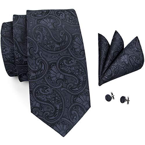 Hi-Tie Men Classic Pure Black Paisley Floral Tie Necktie with Cufflinks and Pocket Square Tie Set