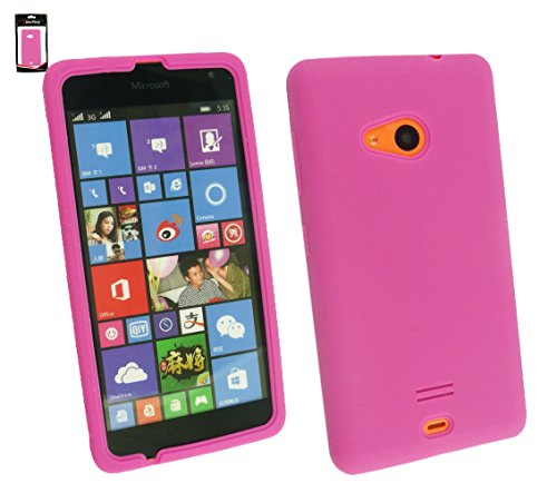 Emartbuy® Value Paquete para Microsoft Lumia 535 / Lumia 535 Dual Sim Pellicola Protettiva + Ultrafina a Presión TPU Gel Funda Cover Claro + Compatible Micro USB Cargador de Coche Rosa Silicon