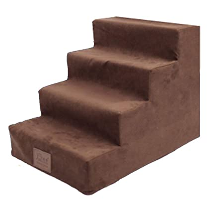Step Stool Dog Stairs For Small Dogs For Tall Bed, 4 Step Sponge Suede Pet