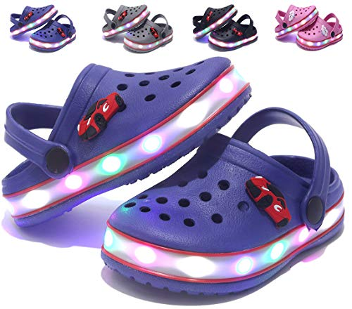 VIYEAR Toddler's LED Clog Flash Lighted Sandals Shoes Summer Breathable Slippers for Children Girls Boys Blue 28 ()