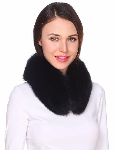 Ferand - Bufanda de Mujer Chic Cuello Alto de Piel de ZorroReal Calentador de Cuello - Negro
