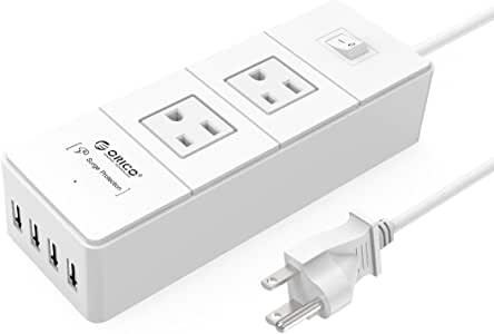 ORICO 2-Outlet Surge Protector Power Strip with 5Ft Power Cord 1700 Joules with 4 USB Charger Ports - Charges Phones, Tablets, Home and Office, Dorm Rooms - White (Former Version)