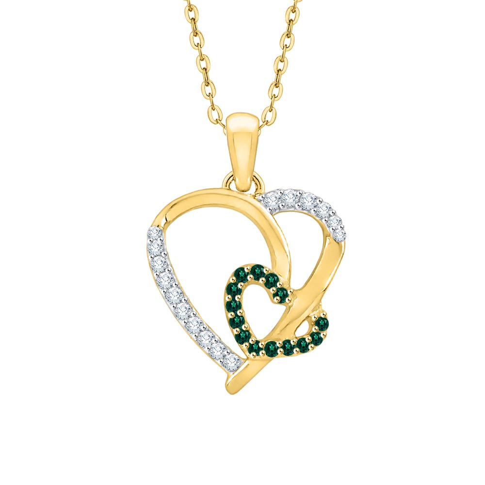 KATARINA Prong Set Diamond and Emerald Double Heart Pendant Necklace in Gold or Silver 1//6 cttw, J-K, SI2-I1