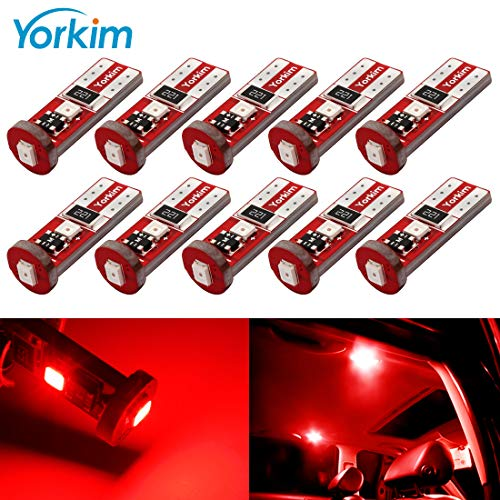 (Yorkim 194 Led Bulb Red Canbus Error Free 3-SMD 2835 Chipsets, T10 Red Interior Led For Car Dome Map Door Courtesy License Plate Trunk lights with 194 168 W5W 2825 Sockets Pack of 10, Red)