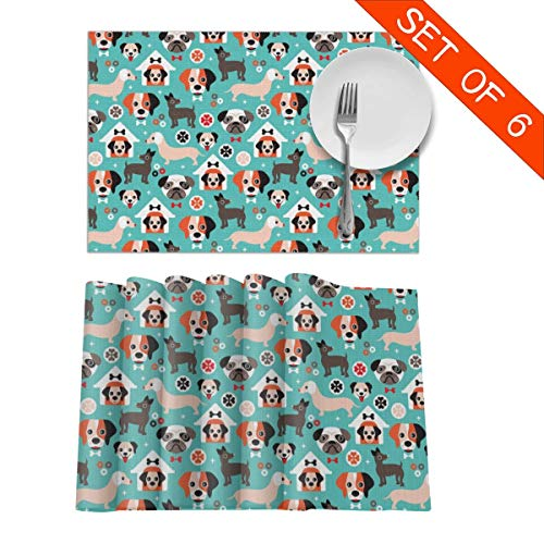 GIxilijie Placemats,Adorable Gender Neutral Puppy Illustration Dogs Illustration Heat Insulation Non Slip Plastic Kitchen Stain Resistant Placemat for Dining Table Set of 6 (Puppies Placemat)