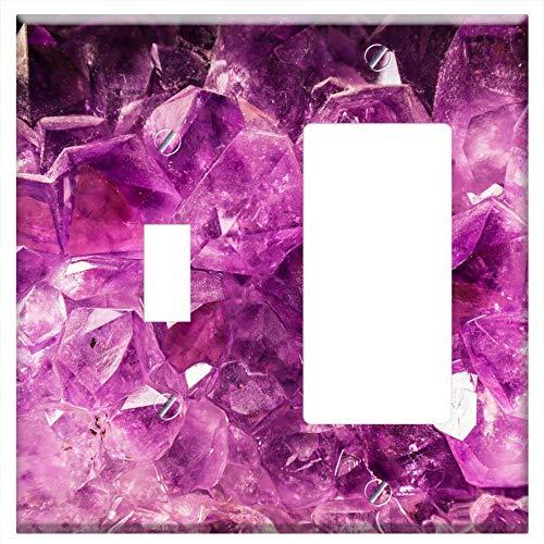(1-Toggle 1-Rocker/GFCI Combination Wall Plate Cover - Gem Amethyst Semi Precious Stone Violet Purpl)