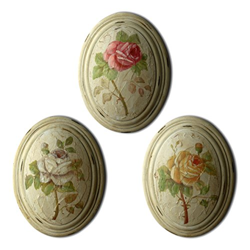 "CVHOMEDECO. Primitive Retro Hand Painted Oval Wooden Frame Wall Hanging 3D Painting Decoration Art, Rose Flower Design, 6-3/4"" x 8-3/4"", Set of 3."