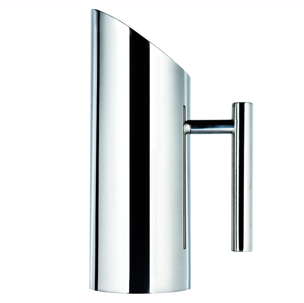 Stainless Steel Water Pitcher with Ice Guard,Straight Pot Frozen/Unboiled Water/Juice/Beer/Coffee Bottles Water Cooler for Bar/Home,1L WeHome JY026