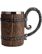 Handmade Wooden Beer Mug, Stainless Steel Cup Bucket Shaped Stainless Steel Cup Wooden Beer Tankard With Handle
