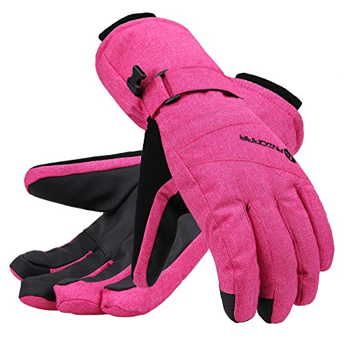 Pink Womens Snowboard Glove - Andorra Women's Zippered Pocket Touchscreen Ski Snowboard Gloves,Pink,S