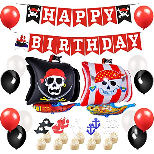 JOYMEMO Pirate Party Supplies - Pirate Party Decorations with Happy Birthday Banner, Foil Balloon, Cake Toppers -