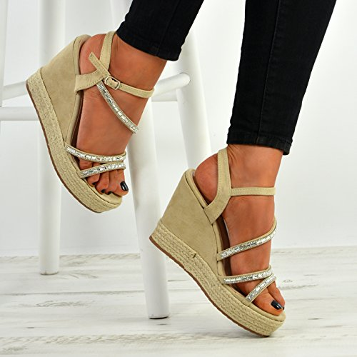 Cucu Fashion New Womens Ladies Ankle Strap Studded Espadrille Wedge Platform Sandals Shoes Beige QDBw3D9a