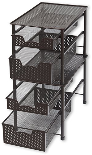 Simple Houseware Stackable 2 Tier Sliding Basket Organizer