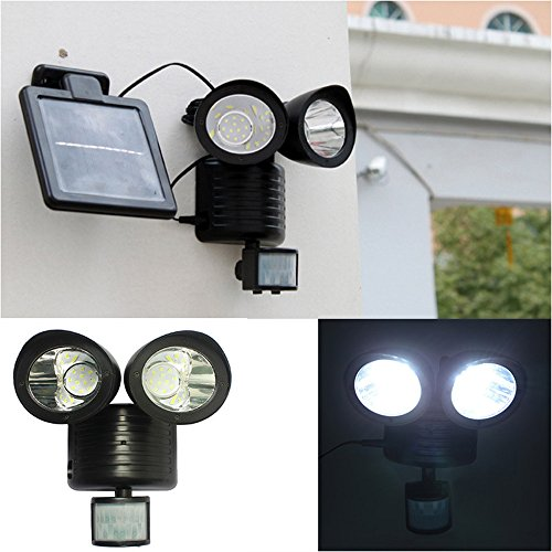 LED Floodlight, Hometom Dual Security Detector Solar Spot Light Motion Sensor Outdoor 22 LED Floodlight (Black) - Light Swivel Floodlight