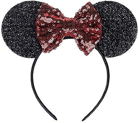 Diadema de orejas de ratoncito negro - lentejuelas - minnie mouse ...