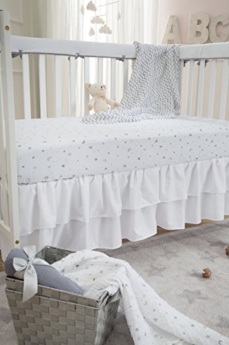 American Baby Company Heavenly Soft Narrow Reversible Crib Cover for Long Rail, Gray/White, for Crib Rails Measuring up to 4'' folded by American Baby Company (Image #6)