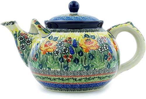 - Polish Pottery 7 cups Tea or Coffee Pot made by Ceramika Artystyczna (Copper Rose Meadow Theme) Signature UNIKAT + Certificate of Authenticity