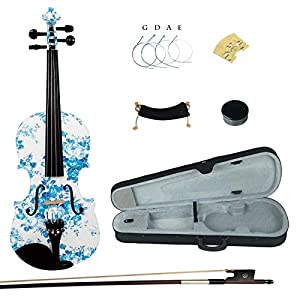 Kinglos 4/4 White Blue Flower Colored Ebony Fitted Solid Wood Violin Kit with Case, Shoulder Rest, Bow, Rosin, Extra Bridge and Strings Full Size (YZ1201) 51Jl3ZCRJcL