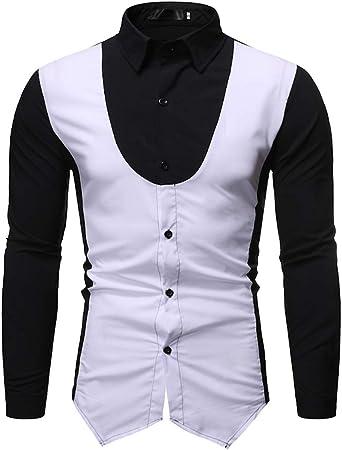 Hombre 2in1 Slim Fit Camisa Top Manga Larga De Solapa Colores Splice Blusas Hombres Elegante Moda Camicia Bluse: Amazon.es: Ropa y accesorios