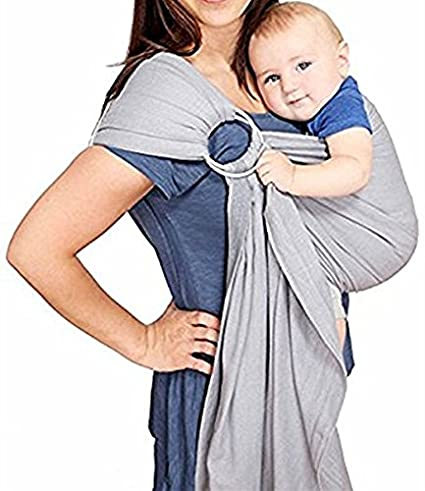 Cuby Breastfeeding Nursing Cover Baby Sling Wrap Carrier From Newborns To Todder (Grey White) (Grey White)