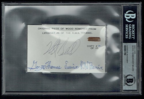 George Thomas & Robert Ballard signed 3x5 w/ Wood from Titanic Lifeboat #6 BAS