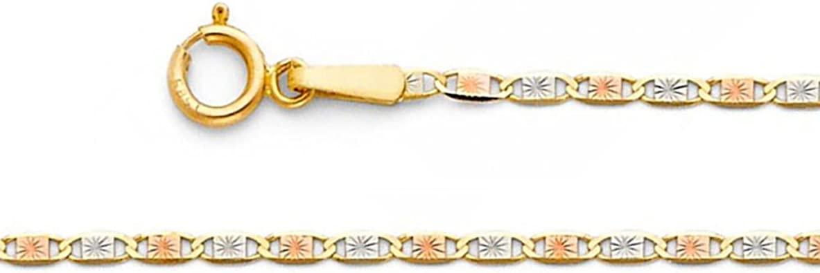 Ioka 14K Tri Color Solid Gold 1.5mm Rope Diamond Cut Chain Necklace with Lobster Clasp