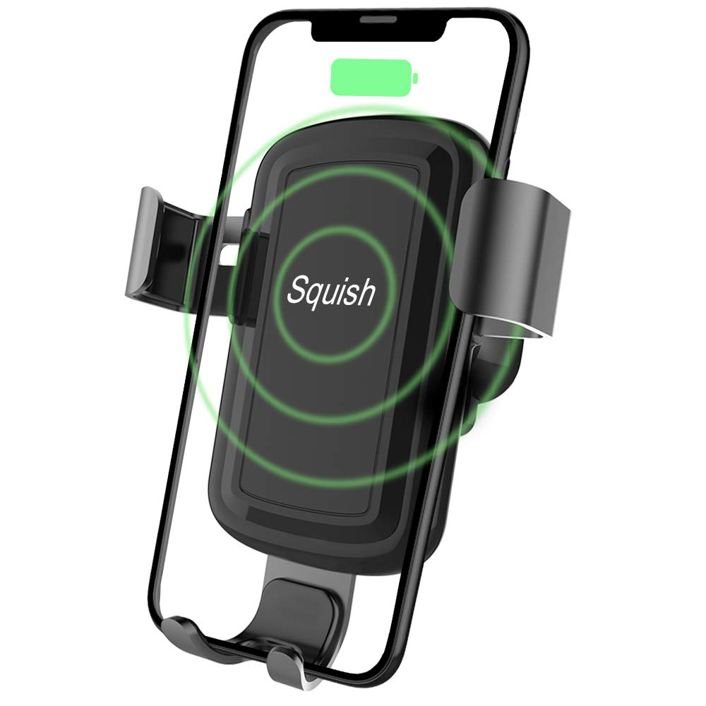 Squish Wireless Charger Car Phone Mount Air Vent Phone Holder for iPhone Xs MAX/XR/XS/X/8/8 Plus and for Samsung Galaxy Note 9/S9/S9 Plus/Note 8/S8 (Gray)