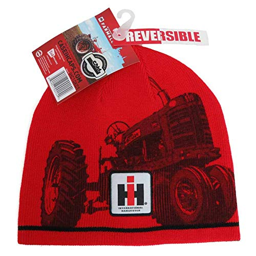 (Case IH Reversible Black and Red Knit Beanie Hat)