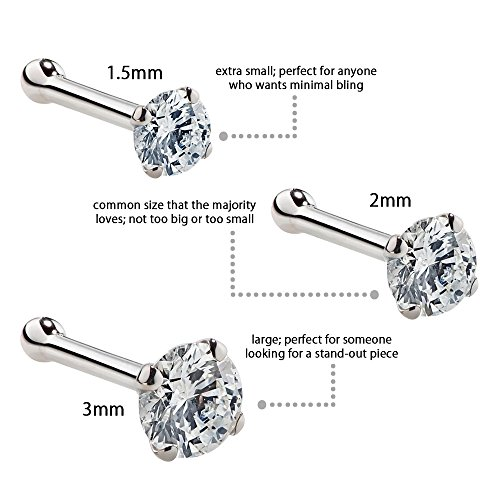 FreshTrends Cubic Zirconia Nose Stud - Nickel-Free 14K White Gold Nose Ring - 1.5mm, 2mm, 3mm CZ 20 Gauge (1.5mm) by FreshTrends (Image #5)