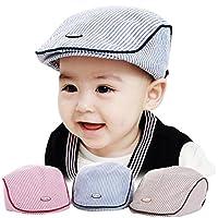 Creazy® Cute Baby Infant Boy Girl Stripe Beret Cap Peaked Baseball Hat (Blue)