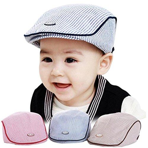 Creazy Cute Baby Infant Boy Girl Stripe Beret Cap Peaked Baseball Hat (Blue)