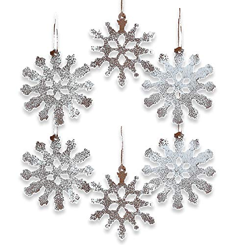 Rustic Tin White Sparkle Snowflake Ornaments Set of 12 Christmas by Oriental Trading Company (Ornament Snowflake Christmas Metal)
