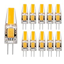 10 Stück Glühbirne 2 Watt DC 12V G4 LED Lampe 210 Lumen, 2800K Warmweiß, COB LED Ersetzt 20W Abstrahlwinkel 260º, AC DC 12V, Ø9,6 x37,5mm