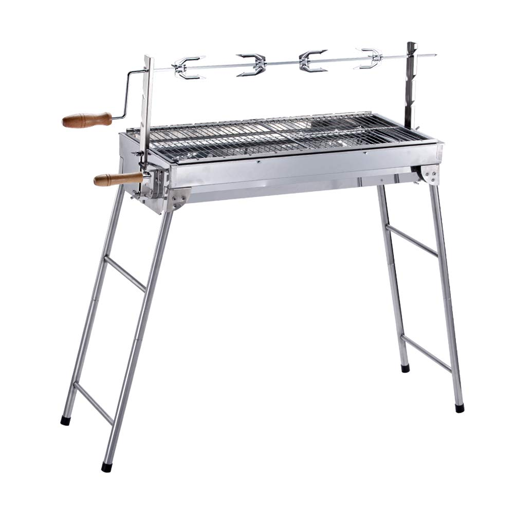 ALEKO GBBQ880 Lightweight Portable Foldable Stainless Steel Charcoal Barbecue Grill with Roasting Bar