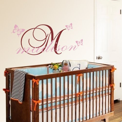 Vinyl Name Wall Decal Custom Name Quote Butterfly Wall De...