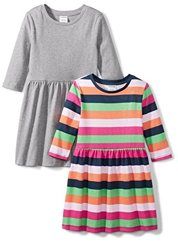 Price comparison product image Spotted Zebra Little Girls' 2-Pack 3 / 4-Sleeve Skater Dresses,  Multi-Stripe / Grey,  X-Small (4-5)